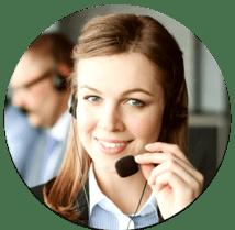 Woman smiling wearing headset