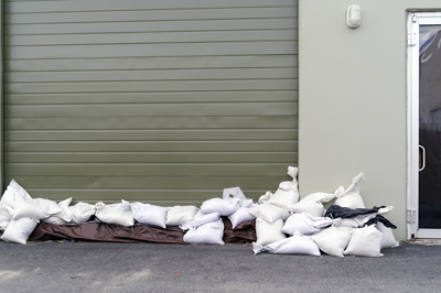 Sandbags in front of a self storage unit