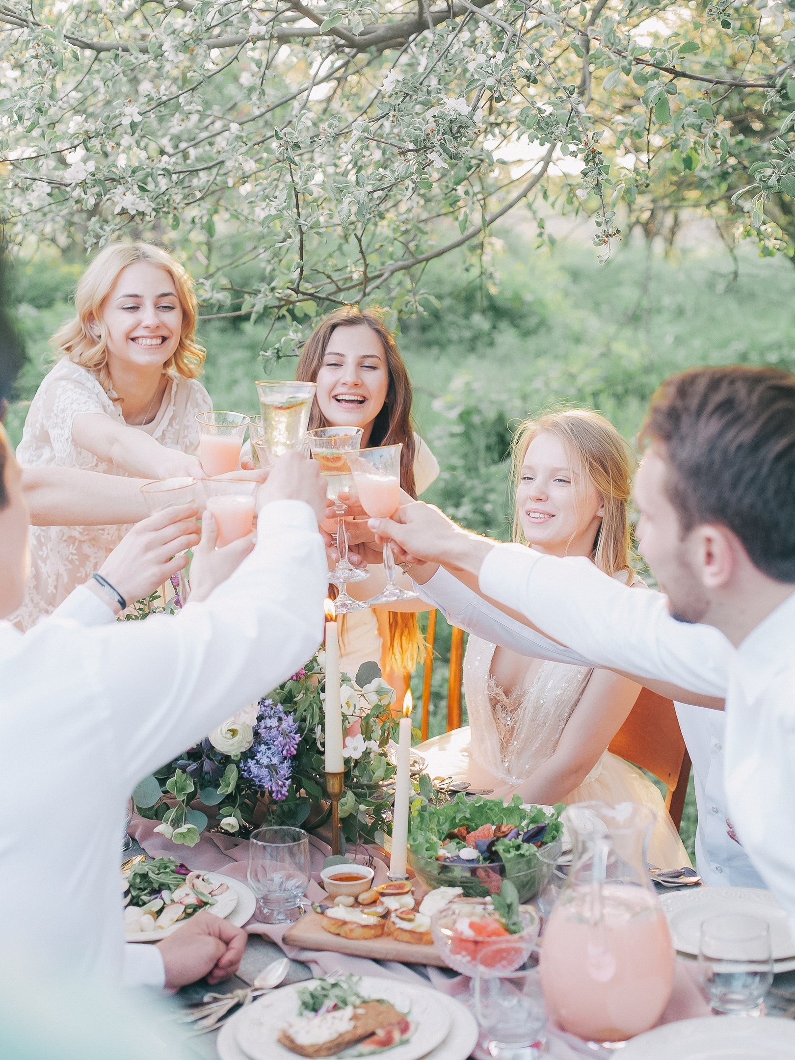Adults celebrating outside