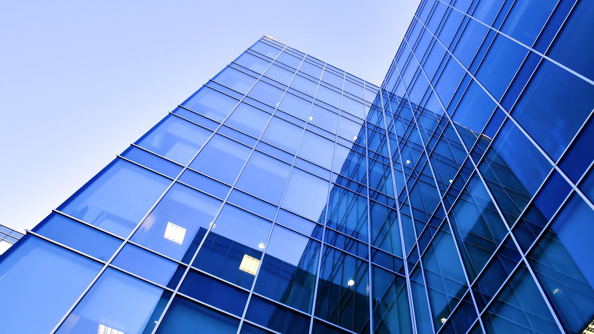 Glass windowed building