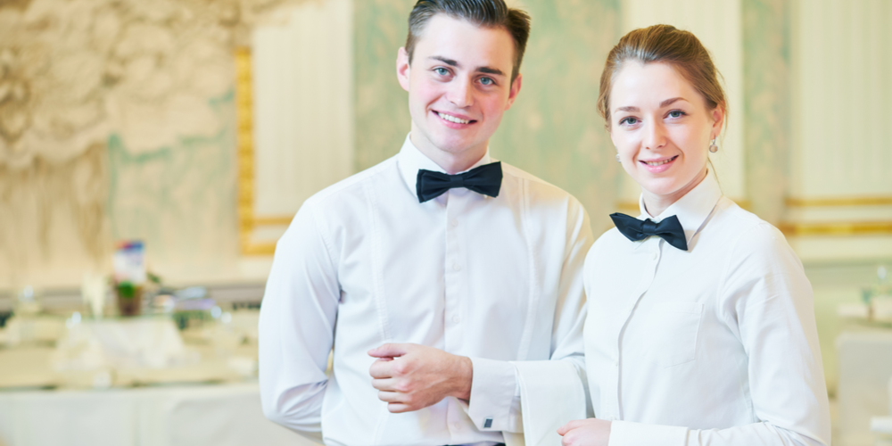 Man and woman caterer