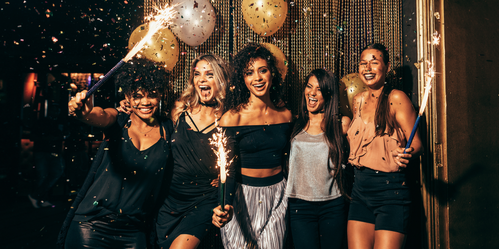 Group of women celebrating at nightclub