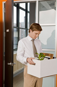 Man leaving with box