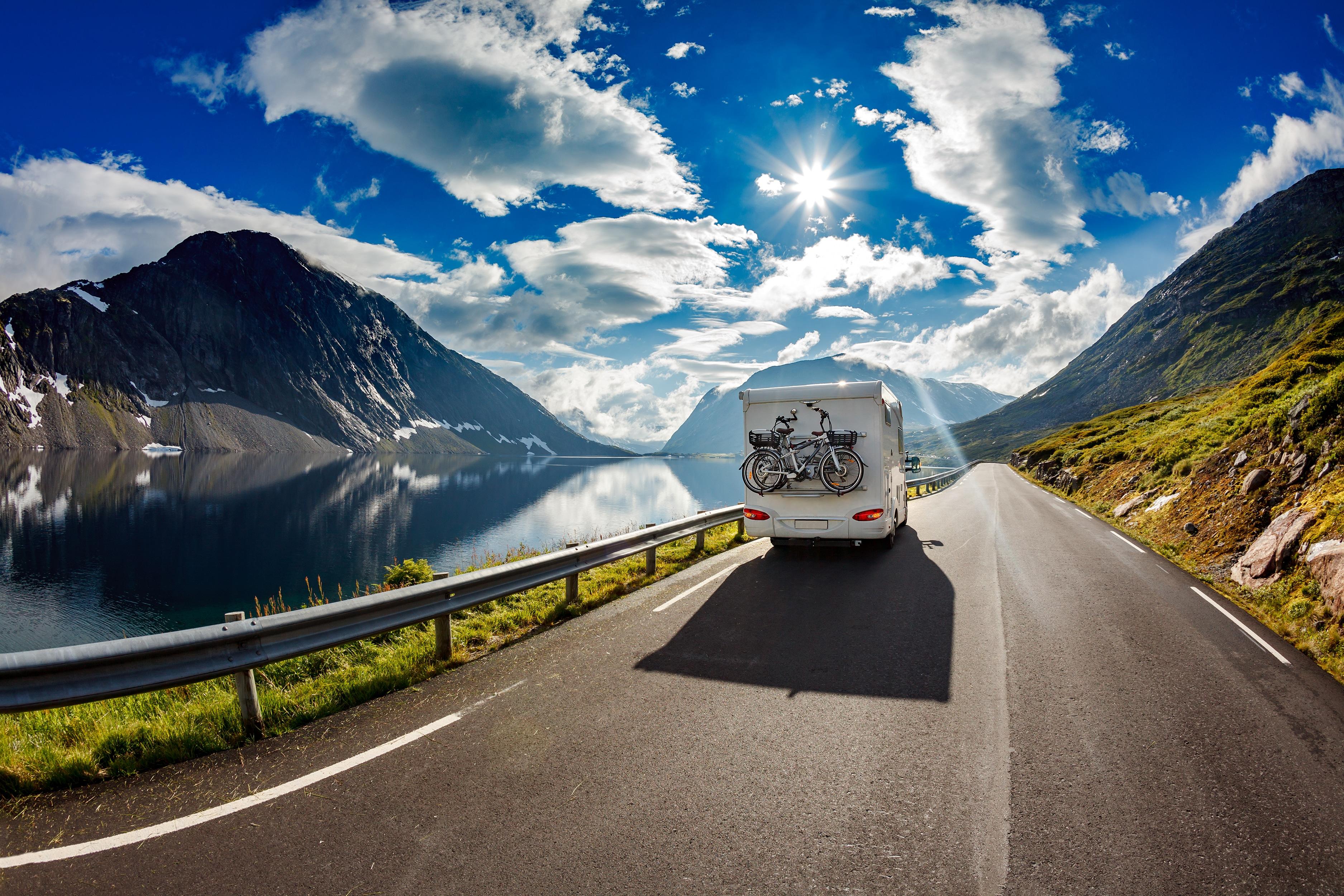 RV on scenic highway