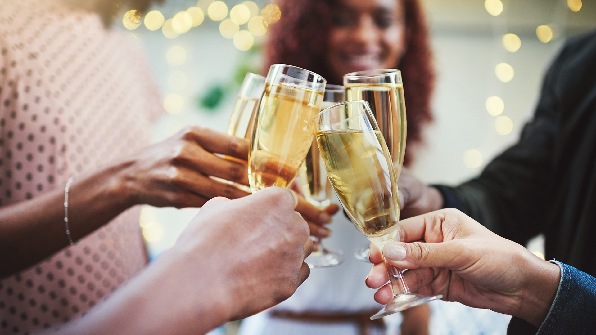 Women with sparkling wine