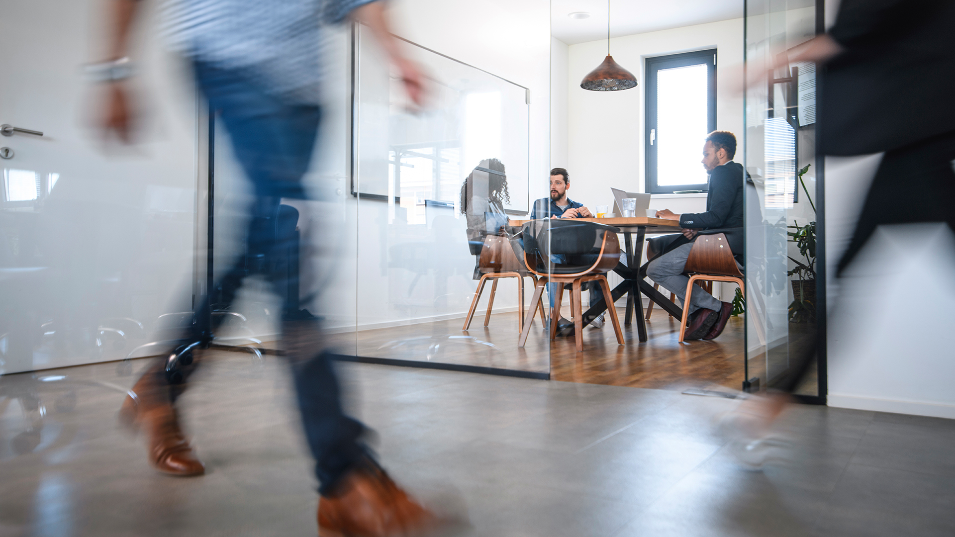 Open office with concrete floors